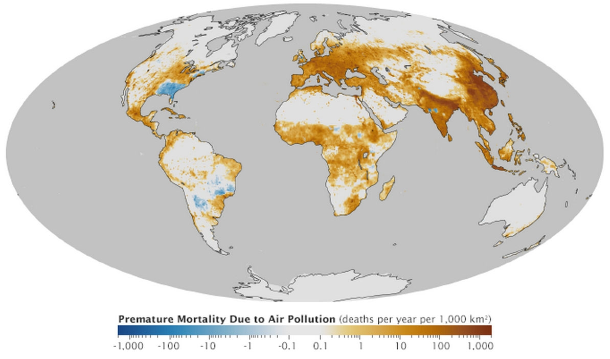 Deaths per 1000 square kilometers per year due to air pollution.